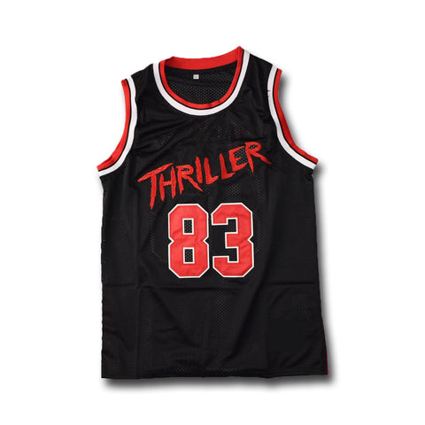 Michael Jackson #83 Thriller Black And Red Stitched Basketball Jersey