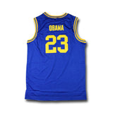 Barack Obama Punahou High Basketball Jersey Stitched - Blue