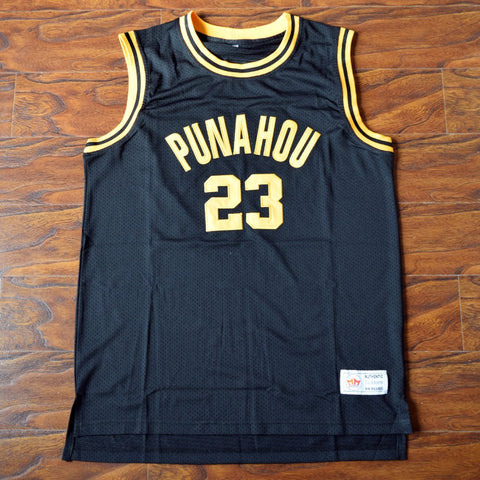 Obama Punahou High Basketball Jersey Stitched - Black