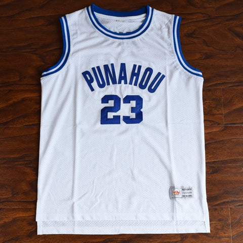 Obama Punahou High Basketball Jersey Stitched - White