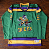 Adam Banks Mighty Ducks Ice Hockey Jersey Stitched - Green