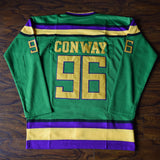 Charlie Conway Mighty Ducks Hockey Jersey Stitched - Green