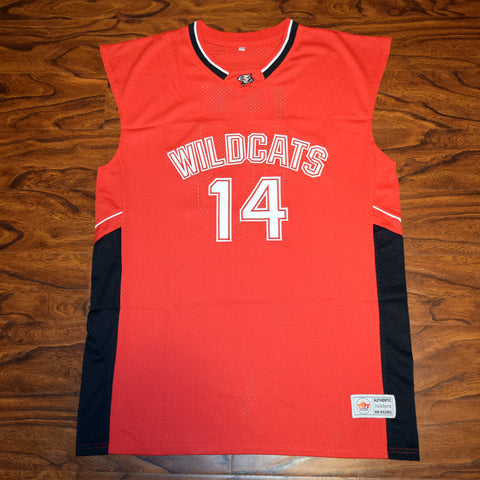 Troy Bolton East High School Wildcats Basketball Jersey Stitched - Red