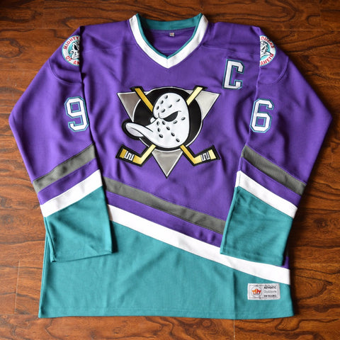 5a9733a1619 Charlie Conway Mighty Ducks Hockey Jersey Stitched - Purple
