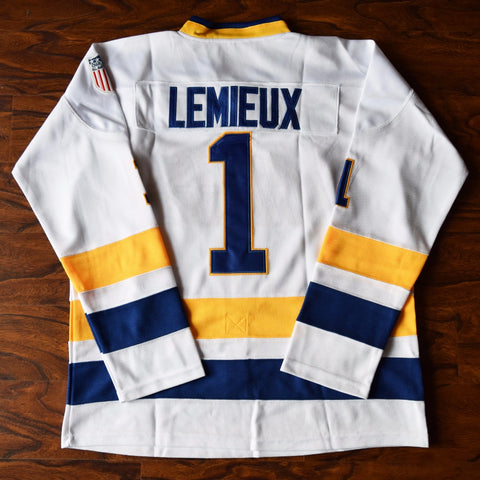 Denis Lemieux Slap Shot Charlestown Chiefs Ice Hockey Jersey Stitched