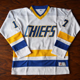 Steve Hanson Chiefs Slap Shot Charlestown Hockey Jersey Stitched - White
