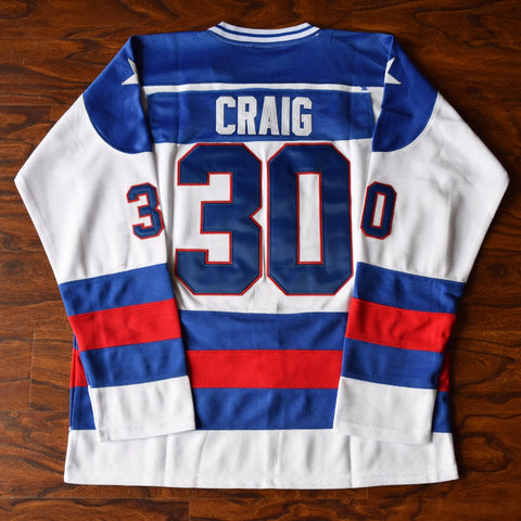 Jim Craig Miracle on Ice USA Ice Hockey Jersey Stitched - White