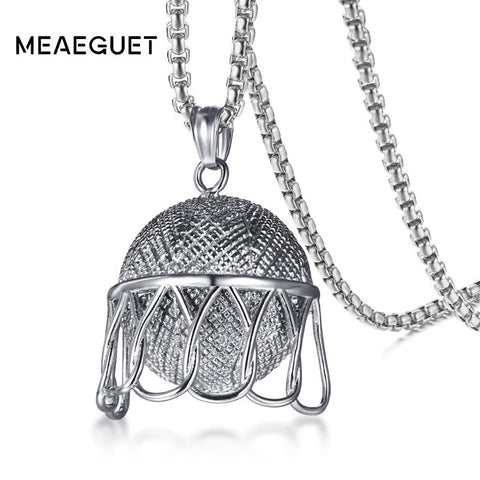 "Hiphop Men Basketball Pendants Necklaces Silver Color Stainless Steel 24"" Chain"