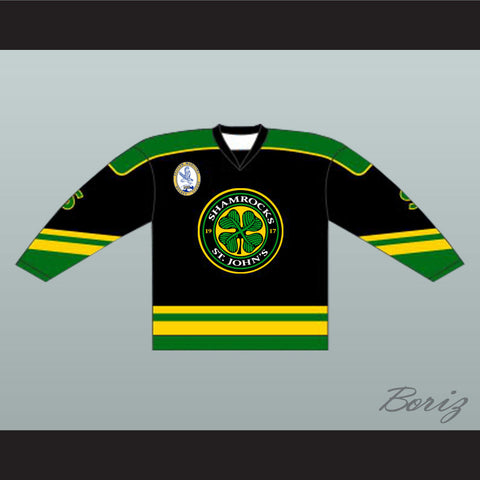 Ross The Boss Rhea St John's Shamrocks Hockey Jersey Goon with EMHL Patch - Black