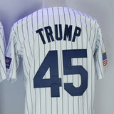 Donald Trump New York #45 Embroidered Pinstripe Baseball Jersey