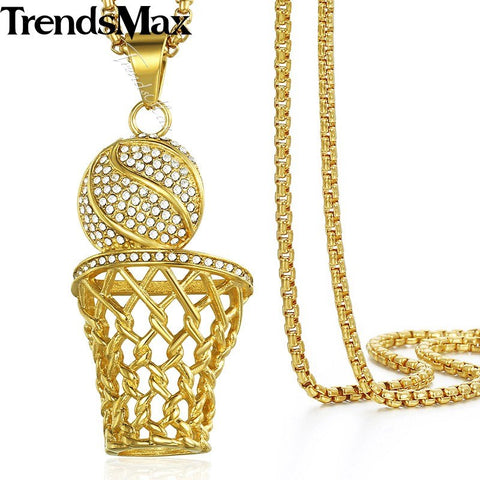 Hip Hop Iced Out Bling Full Rhinestone Basketball Pendants Gold Stainless Steel Sports Necklace Chain