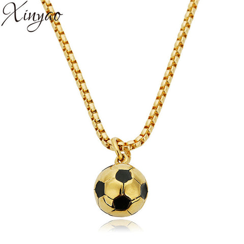 Stainless Steel Soccer Ball Pendants Necklaces Oil Drop Charms Chain
