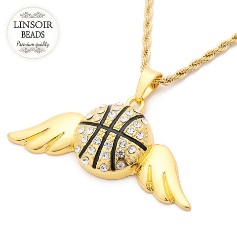 Gold Color Alloy Sports Round Basketball Pendent Necklaces Angle Wing Necklaces Chain 60cm