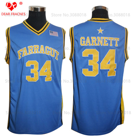 Kevin Garnett Top Farragut High School Basketball Jersey Stitched - Blue