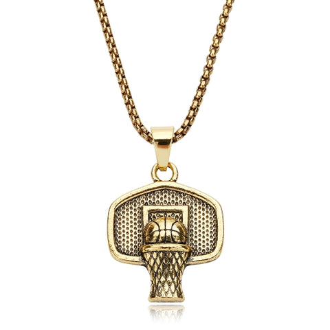 Backboard Chain Stainless Steel Basketball Pendant Men Necklace Shoot a Basket