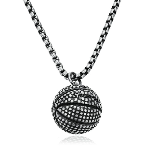 Vintage Sport Jewelry 17mm Basketball Pendant Necklace Titanium Steel Chain
