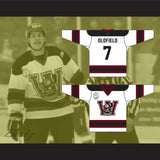 Oldfield 7 Goon Windsor Wheelers Hockey Jersey Includes EMHL Patch