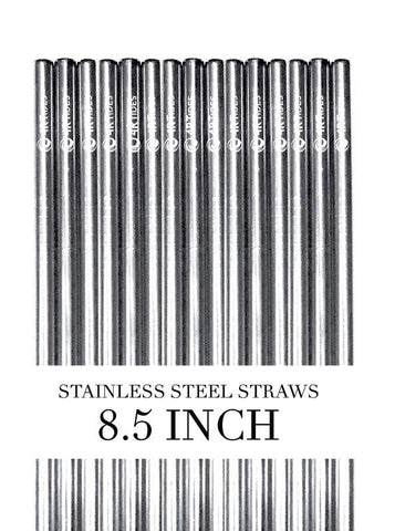 8.5 inch steel straws (5 Pack)