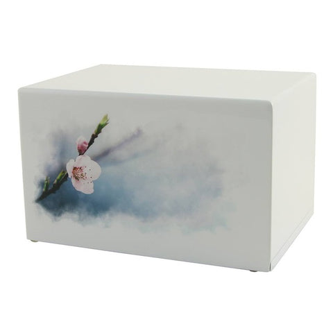 Low cost wooden cremation Urn |  Somerset Cherry Blossoms | Vision Medical