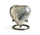 Terrybear Antique Silver Oak Heart Cremation Urn | Vision Medical