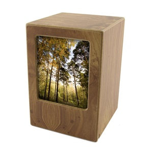 Wooden Birch Photo Cremation Urn  Ash Urn