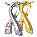 Sterling Silver or Gold Breast Cancer Ribbon Pink Stones Cremation Pendent | Vision Medical