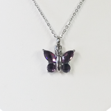 "Cremation Jewelry | Stainless Steel ""Amethyst Wings""  Butterfly Cremation Pendant 