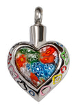 Stainless Steel Art Glass Heart II Cremation Pendent | Vision Medical