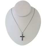 Black and Silver Cross Cremation Pendant