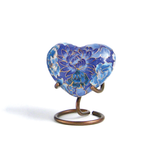 Floral Blue Elite Heart Cloisonne Cremation Urn