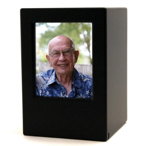 Medium Density Fiberboard Black Satin Photo Urn