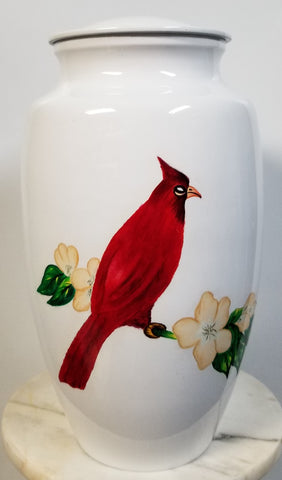 """Cardinal on Dogwood"" Cremation Urn 
