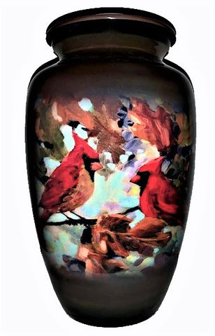 """Cardinal Collage""  Cardinal Pair in Oak Leaves 