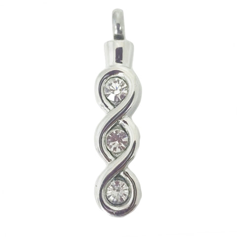 Stainless Steel Infinity with Three CZ Stones Cremation Pendant