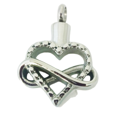 Stainless Steel Infinity Heart Cremation Pendant