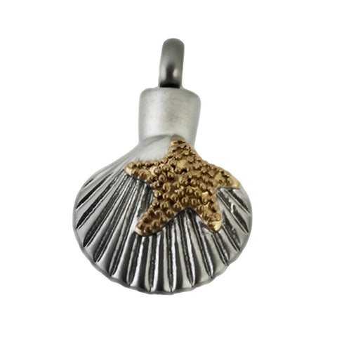 Cremation Jewelry | Stainless Steel Beach Life (shell) Cremation Pendant | Vision Medical