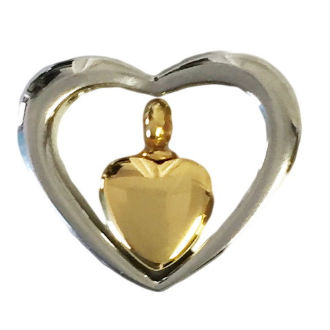 Stainless Steel Heart Within A Heart Cremation Pendant