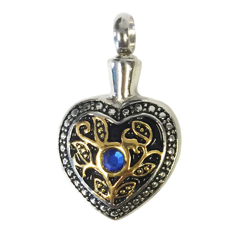 Stainless Steel Gold & Silver Heart Cremation Pendant