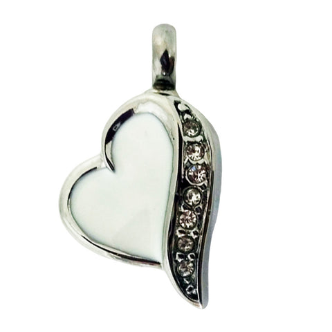 Stainless Steel Seven Stone White Heart Cremation Pendant