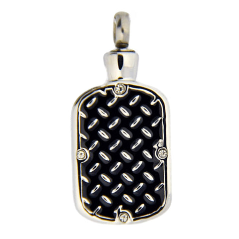 Stainless Steel Diamond Plate Dog Tag Cremation Pendant