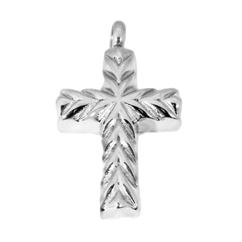 Stainless Steel Cut Design Cross Cremation Pendant