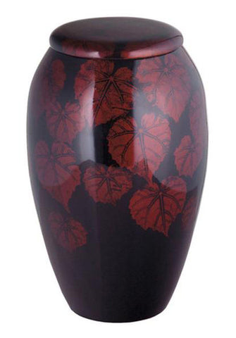 Exotic Floral Leaves Hand Painted Cremation Urn | Vision Medical