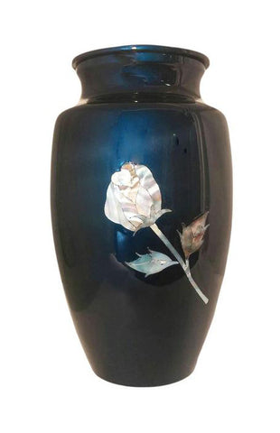 Mother of Pearl Rose on Blue