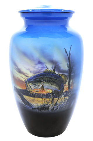 Fisherman's Fantasy  Bass Cremation Urn |  Themed Fisherman urn |Themed Fishing Urn