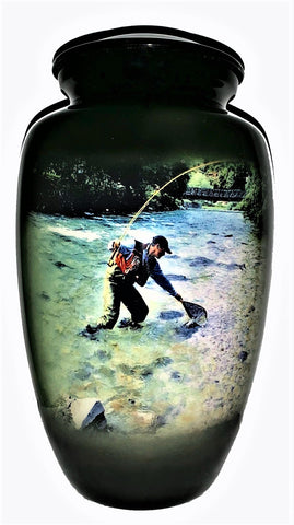 Fishing themed cremation urn | Trout Fisherman | Vision medical
