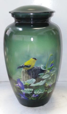 Goldfinch Themed Ash Cremation Urn from Vision Medical