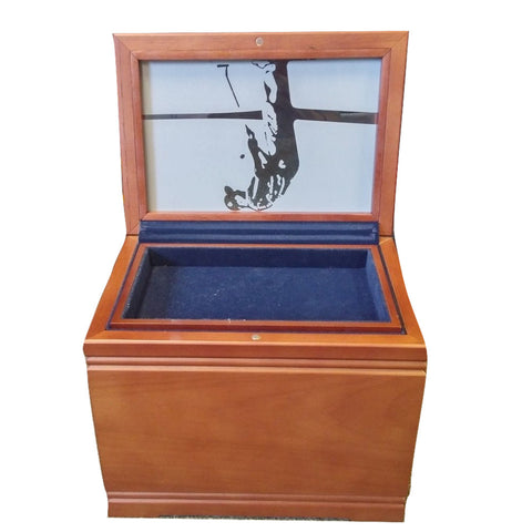 Golfer Memorial Chest includes Mahogany chest , urn and memory tray with frosted  glass top sstop