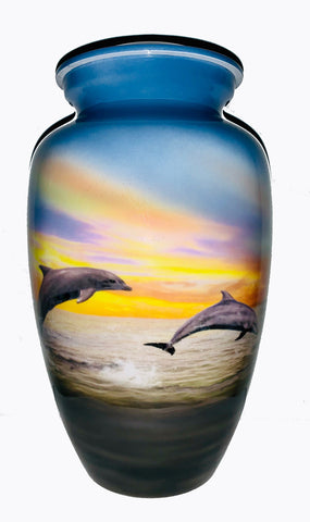Dolphins at Play Cremation Urn | Themed Beach and Ocean Cremation urn | Beach Cremation Urn | Dolphin Themed cremation urn