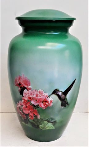 Happy Hummingbird Cremation Urn | Themed Bird Urn | Hummingbird Urn