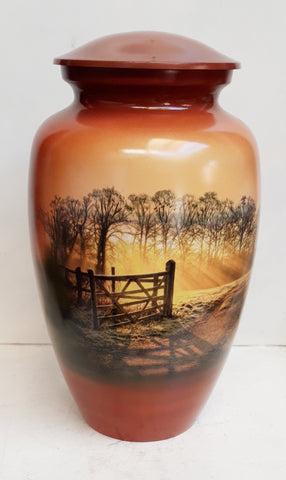 Heaven's Gate Cremation Urn |  Themed Farm Scene |  Farmers Cremation Urn
